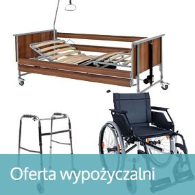 """napis """"oferta wypożyczalni"""" na tle zdjęcia wózka inwalidzkiego, łóżka rehabilitacyjnego i balkonika do chodzenia"""