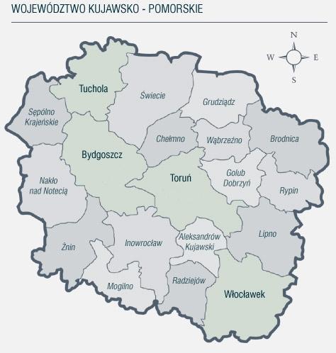 mapa województwa kujawsko-pomorskiego
